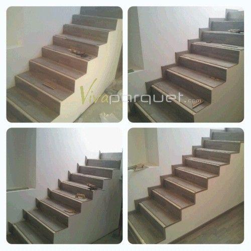 Imágenes de los pasos para forrar la escalera con parquet laminado